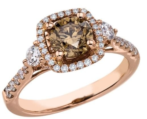 rose micro brown diamond r rings ring gold pave