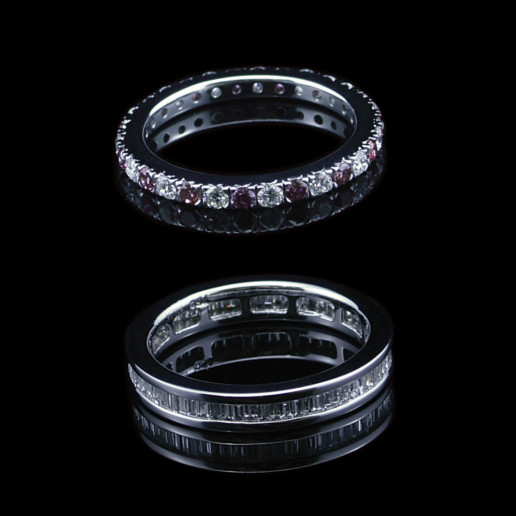 Pink Argyle diamond wedding rings